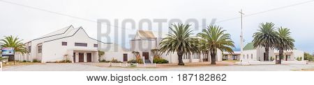 LANGEBAAN SOUTH AFRICA - MARCH 31 2017: The Dutch Reformed Church church hall and historic small church in Langebaan on the Atlantic Coast of the Western Cape Province
