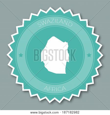 Swaziland Badge Flat Design. Round Flat Style Sticker Of Trendy Colors With Country Map And Name. Co
