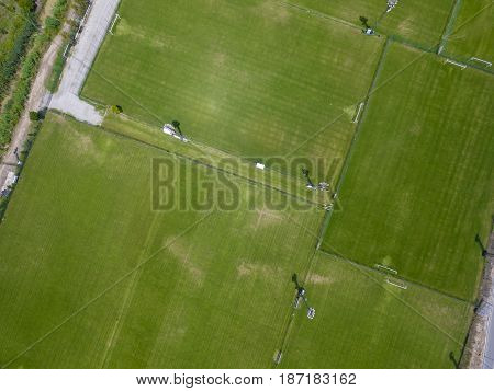 Birds eye view photo of football fields