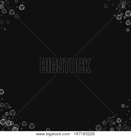 Soap Bubbles. Corners With Soap Bubbles On Black Background. Vector Illustration.