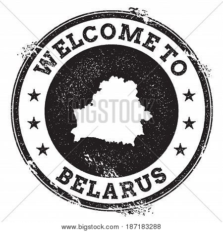 Vintage Passport Welcome Stamp With Belarus Map. Grunge Rubber Stamp With Welcome To Belarus Text, V