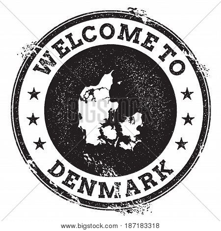 Vintage Passport Welcome Stamp With Denmark Map. Grunge Rubber Stamp With Welcome To Denmark Text, V