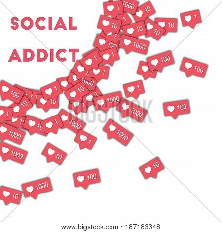 Social Addict. Social Media Icons In Abstract Shape Background With Pink Counter. Social Addict Conc