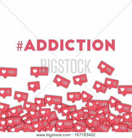 #addiction. Social Media Icons In Abstract Shape Background With Pink Counter. #addiction Concept In