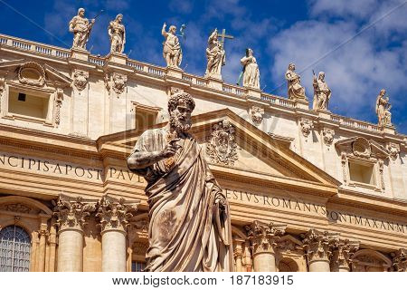 Detail Of Statue Of St Peter In Front Of St Peters Basilica, Vatican