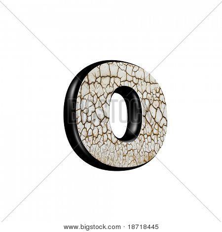 letra 3d abstrata com textura de solo seco - O