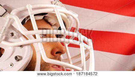 Player of American Football with USA flag