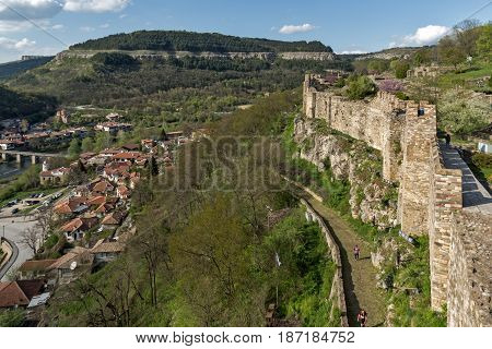 VELIKO TARNOVO, BULGARIA - 9 APRIL 2017: Ruins of The capital city of the Second Bulgarian Empire medieval stronghold Tsarevets, Veliko Tarnovo, Bulgaria