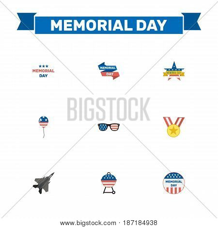 Flat Usa Badge, Spectacles, Ribbon And Other Vector Elements. Set Of History Flat Symbols Also Includes Barbecue, Mom, Holiday Objects.