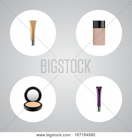 Realistic Concealer, Day Creme, Collagen Tube And Other Vector Elements. Set Of Greasepaint Realistic Symbols Also Includes Skincare, Foundation, Blusher Objects.