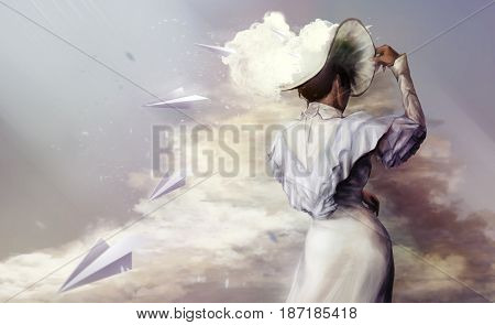Illustration of a woman standing in dress and hat with flying paper planes concept on a cloudy background.