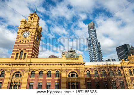 MELBOURNE, AUSTRALIA - AUGUST 02 2015: Flinders street station and Eureka tower the iconic of Melbourne, Australia.