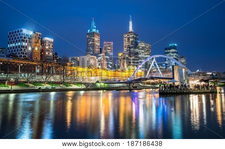 Melbourne city one of the most liveable city in the world during night life, Australia.