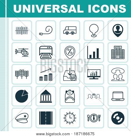 Set Of 25 Universal Editable Icons. Can Be Used For Web, Mobile And App Design. Includes Elements Such As Printed Document, Sun Clock, Discount Location And More.