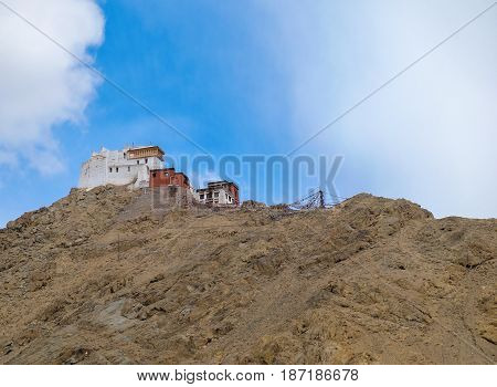 Namgyal Tsemo Gompa Monastery founded in 1430 by King Tashi Namgyal of Ladakh it has a three-story high gold statue of Maitreya Buddha and ancient manuscripts and frescoes in Leh Ladakh India