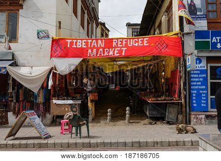 Leh India - April 262017 : Tibetan rufugee market street at Main Bazaar in Leh Ladakh Jammu India