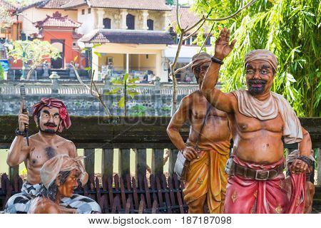Traditional Statues At Pura Taman Ayun Temple In Mengwi, Bali, Indonesia