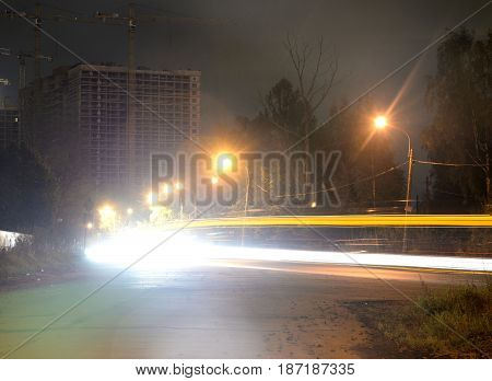 Street at night on the outskirts of St. Petersburg Russia.