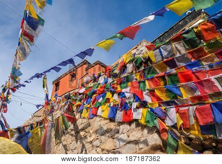 Namgyal Tsemo Gompa with prayer flags a Buddhist monastery in Leh Ladakh northern India.