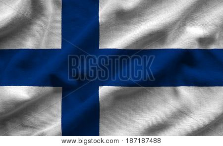 Flag Of Finland . Flag Has A Detailed Realistic Fabric Texture.