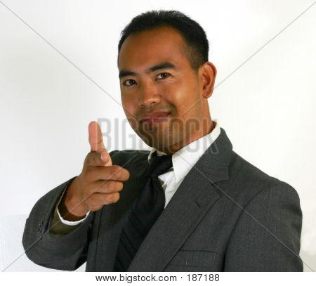 Business Man Finger Point