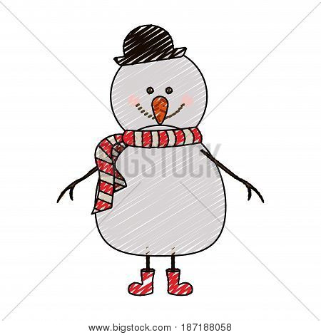 color crayon stripe cartoon of snowman with red boots and scarf and black hat vector illustration