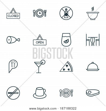 Set Of 16 Cafe Icons. Includes Dining Room, Stop Smoke, Steak And Other Symbols. Beautiful Design Elements.