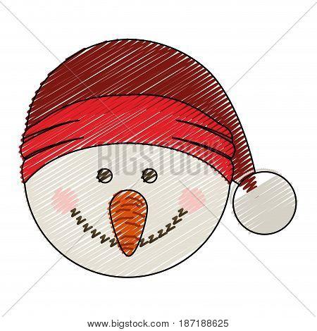 color crayon stripe cartoon of snowman head with christmas hat vector illustration