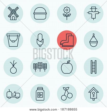 Set Of 16 Holticulture Icons. Includes Hanger, Sweet Berry, Gardening Shoes And Other Symbols. Beautiful Design Elements.