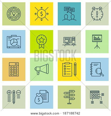 Set Of 16 Project Management Icons. Includes Announcement, Reminder, Computer And Other Symbols. Beautiful Design Elements.