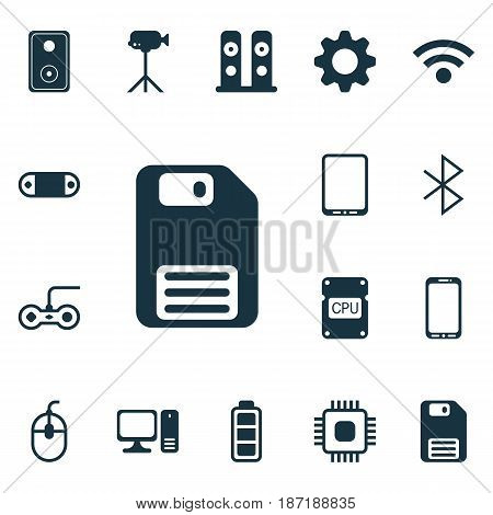 Set Of 16 Computer Hardware Icons. Includes Chip, Settings, Audio Device And Other Symbols. Beautiful Design Elements.