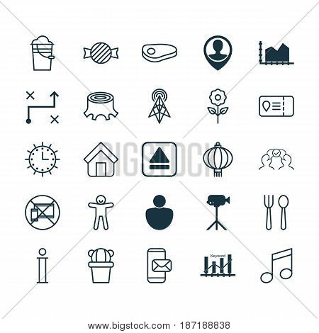 Set Of 25 Universal Editable Icons. Can Be Used For Web, Mobile And App Design. Includes Elements Such As Shortcake, Traditional Lamp, Bucket And More.
