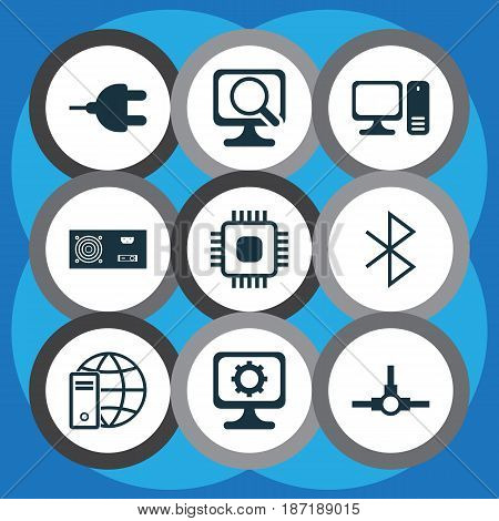Set Of 9 Computer Hardware Icons. Includes Power Generator, Connector, Network Structure And Other Symbols. Beautiful Design Elements.