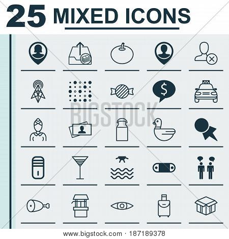 Set Of 25 Universal Editable Icons. Can Be Used For Web, Mobile And App Design. Includes Elements Such As Aperitif, Outgoing Earnings, Radish And More.