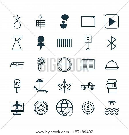 Set Of 25 Universal Editable Icons. Can Be Used For Web, Mobile And App Design. Includes Elements Such As Autumn Plant, Sunrise, Dining And More.