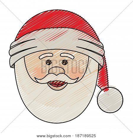 color crayon stripe cartoon of santa claus face with christmas hat in closeup vector illustration