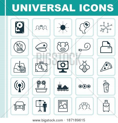 Set Of 25 Universal Editable Icons. Can Be Used For Web, Mobile And App Design. Includes Elements Such As Solution Demonstration, Bumblebee, Piglet And More.