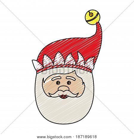 color crayon stripe cartoon of santa claus face vector illustration