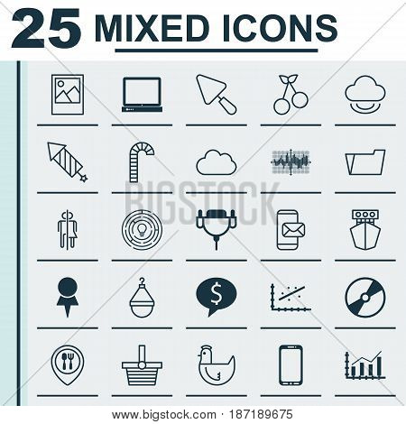 Set Of 25 Universal Editable Icons. Can Be Used For Web, Mobile And App Design. Includes Elements Such As Lollipop, Document Case, Economy Growth And More.