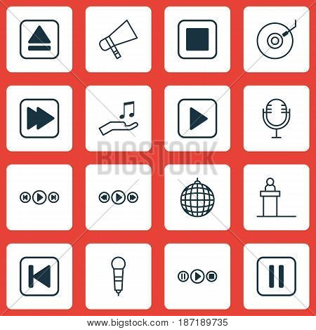 Set Of 16 Multimedia Icons. Includes Song UI, Dance Club, Stop Button And Other Symbols. Beautiful Design Elements.