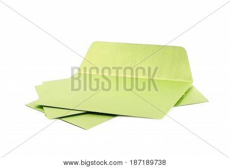 Pile of paper envelopes isolated over the white background