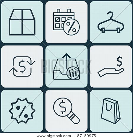 Set Of 9 E-Commerce Icons. Includes Black Friday, Recurring Payements, Peg And Other Symbols. Beautiful Design Elements.