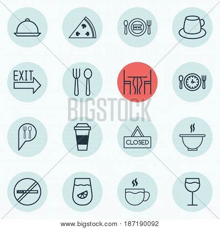 Set Of 16 Eating Icons. Includes Pepperoni, Fresh Dining, Dining And Other Symbols. Beautiful Design Elements.