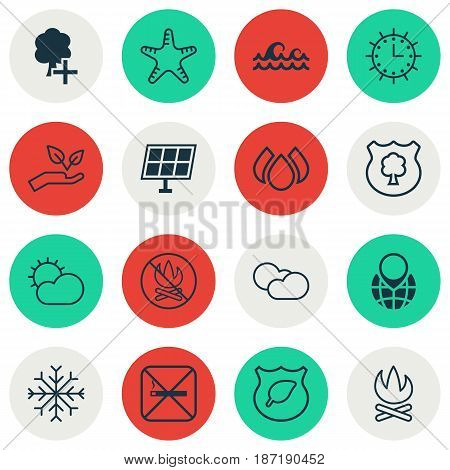 Set Of 16 Eco-Friendly Icons. Includes Sun Power, Aqua, Sea Star And Other Symbols. Beautiful Design Elements.