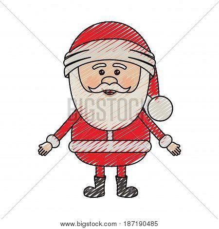 color crayon stripe cartoon of santa claus waiting for hug vector illustration