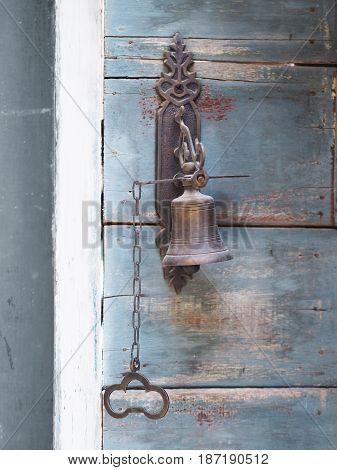Close up old vintage metal door bell.