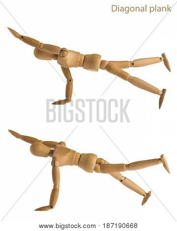 demonstration step of wood manikin in diagonal plank exercise pose on white background. poster