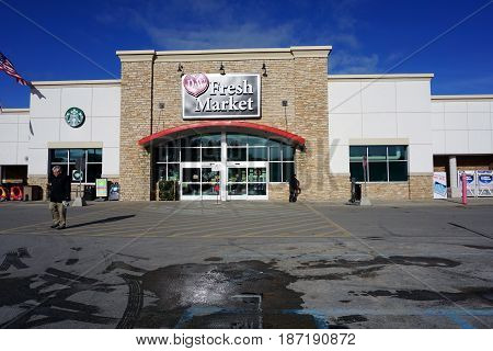 BAY VIEW, MICHIGAN / UNITED STATES - NOVEMBER 26, 2016: One may purchase groceries at the D&W Fresh Market in Bay View.