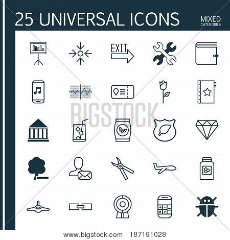 Set Of 25 Universal Editable Icons. Can Be Used For Web, Mobile And App Design. Includes Elements Such As Trip Access, Spanner, Air Transport And More.
