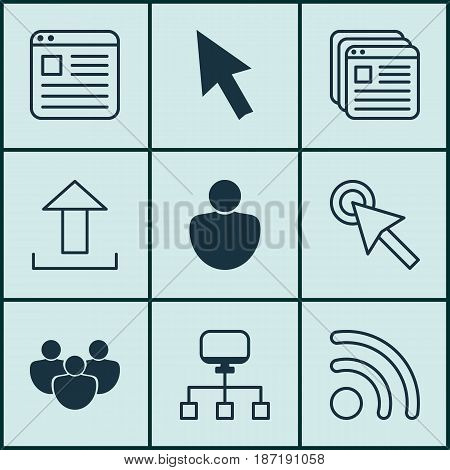 Set Of 9 World Wide Web Icons. Includes Local Connection, Send Data, Mouse And Other Symbols. Beautiful Design Elements.